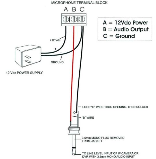 how to connect a microphone to ip cameras rh unifore net 1-Wire Alternator Wiring Diagram 12 Volt Starter Wiring Diagram