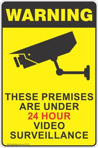 24 hour video surveillance warning signage